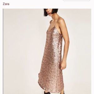 Zara rose gold sequin midi dress
